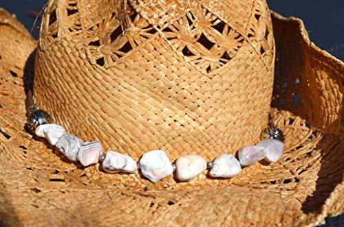 Handmade Western Hatband, Gemstone, Adjustable (One of a kind) White Botswana Agate FREE - Gem Hut