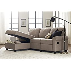 Serta Copenhagen Reclining Sectional with Left Storage Chaise - Warm Oatmeal