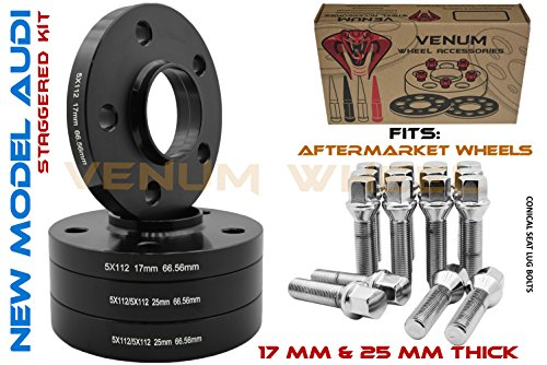 4 Pc New Model Audi 17 MM & 25 MM Hubcentric Staggered Wheel Spacers + Chrome Conical Lug Bolts | 2009-2019 5x112 MM Audi Vehicles W/Aftermarket Wheels ()