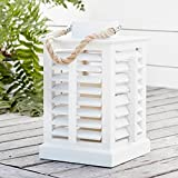 Lights4fun, Inc. White Wooden Battery Operated LED Indoor Flameless Candle Lantern with Rope Handle Home Decoration