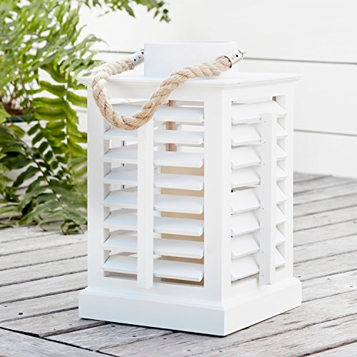 (Lights4fun, Inc. White Wooden Battery Operated LED Indoor Flameless Candle Lantern with Rope Handle Home Decoration)