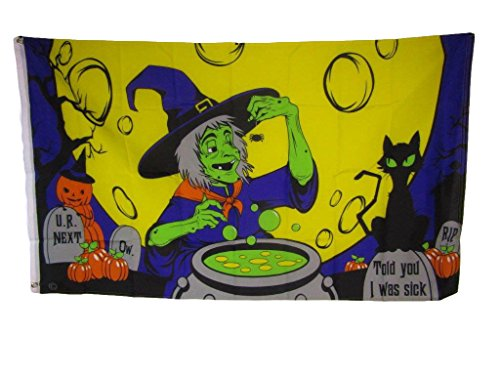 ALBATROS 3 ft x 5 ft Happy Halloween Witch Witches Brew Full Moon Scary Flag Brass Grommets for Home and Parades, Official Party, All Weather Indoors -
