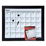 Dooley Boards Black Framed Magnetic Calendar Dry Erase Board, 18 X 22 Inch, Black (1824CALMG)