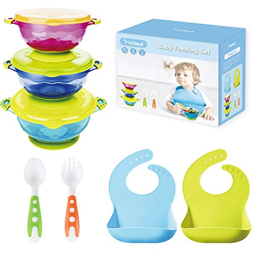 MICHEF Baby Bowls, Baby Feeding Bowls Set with Silicone Baby Bibs (2 Pack) for Babies & Toddlers, Baby Fork and Baby Spoon Set - Perfect Baby Shower Gift Set of 3 Spill Proof Suction Bowls with Lids