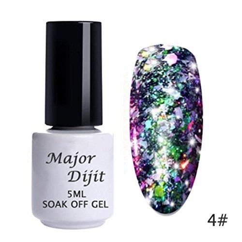 (Nail Gel Deesee(TM) 6 Colors Galary Flake Glitter Aluminum Laser Flash Powder Diamond Rainbow Cloud Brocade Sequins DIY Polish UV Gel (4#))