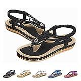 Socofy Women Summer Flat Sandals, Ladies Slip On Clip Toe T-Strap Flip Flops