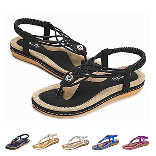 Women's Flat Sandals Casual Slingback Summer Beach Clip Toe Flip Flops Thongs Shoes Bohemian Braided T-Strap Wedge Heel Black 7 B(M) US