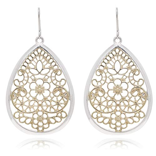 Bohemian Gold & Silver Two Tone Floral Filigree Big Tear Drop Earrings