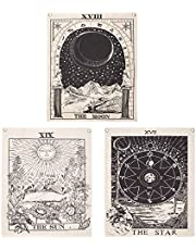 """Miytal Pack of 3 Tarot Tapestries, The Sun The Moon The Star Tarot Card Tapestry Medieval Europe Divination Wall Hanging with Rustproof Grommets, Mysterious Tapestries for Home Decoration – 16"""" x 20"""" / Piece"""