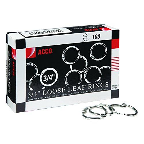 ACCO Loose Leaf Binder Rings, 3/4, Silver, 100 Rings/Box (72201)