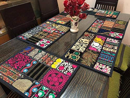 (Ganesham Handicraft- Indian Handmade New Vintage Patchwork Dinning Table Cotton Table Mats, Table Runner, Table Cloth, Kitchen & Table Linens, Desk Table Pads, Handmade Place Mat (Set of 5 Piece))