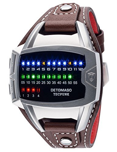 DETOMASO Tecpunk Mens Digital Wrist Watch Silver Stainless Steelcasing Brown Leather Strap Binary Look With Stylish LEDs DT-YG106-B