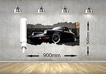 Porsche voiture rip mur design garçon fille bureau enfant