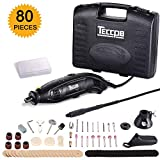 TECCPO 8,000-35,000RMP 5-Speed Variable Speed Rotary Tool with 80-Piece Accessories, Upgraded Flex Shaft, Universal 3-Jaw Chuck, 3 Attachments, Holder Hanger, Cutting Guide and Carrying Case