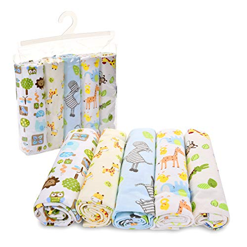 Unisex Receiving Blankets -5 Pack Baby Receiving Blanket Set - Zoo Animals Baby Blankets - Baby Blankets for Boys - Baby Blankets for Girls - Baby Elephant, Giraffe, Zebra and Owls Flannel Blankets ()