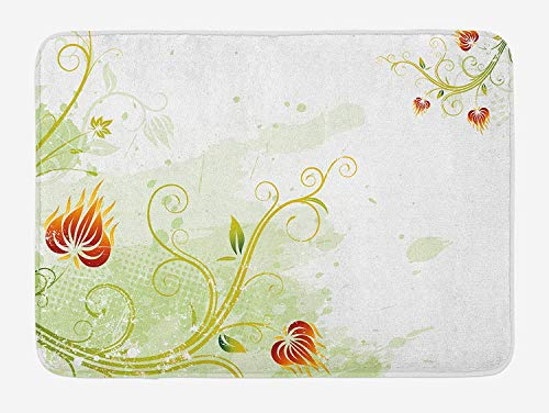 Weeosazg Floral Bath Mat, Swirled Petals Lines on Grunge Background Retro Scroll Botany Design, Plush Bathroom Decor Mat with Non Slip Backing, 23.6 W X 15.7 W Inches, Pale Green Pistachio Ruby ()