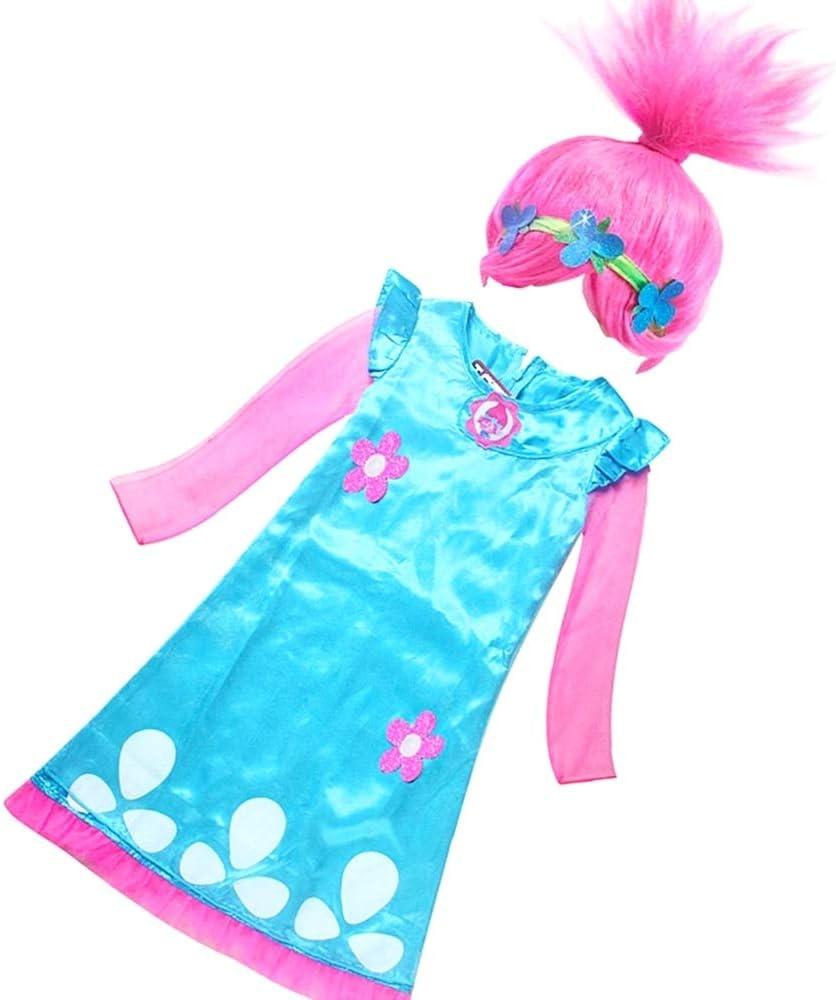 Disfraz de amapola troll niña carnaval con peluca incluida 110 cm ...