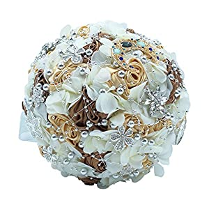 Abbie Home Silk Rose Wedding Bouquet Brooches Bridal Holding Flowers Rhinestone Décor 106