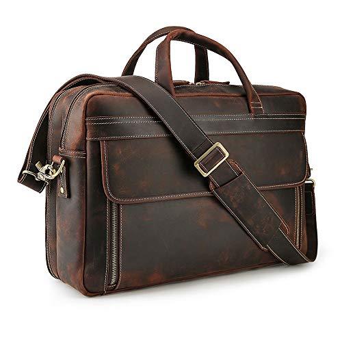 Tiding Men's Leather Briefcase 17