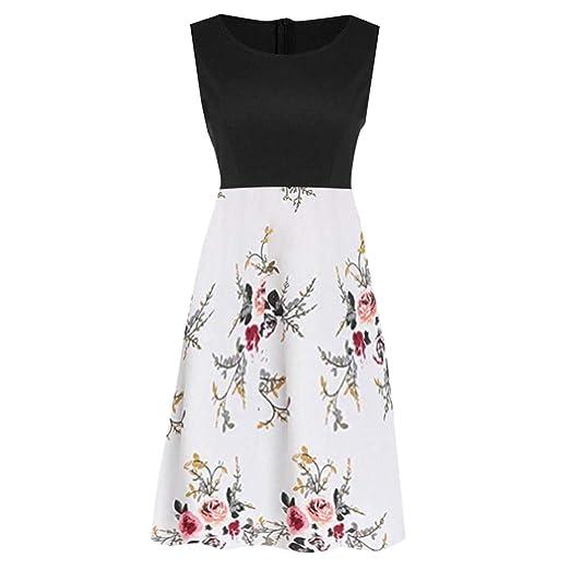 b959f50d34f TUSANG Women Skirt Vintage Sleeveless Ladies Dress Printed Floral Tunic  Tank Zipper Slim Fit Comfy Dress