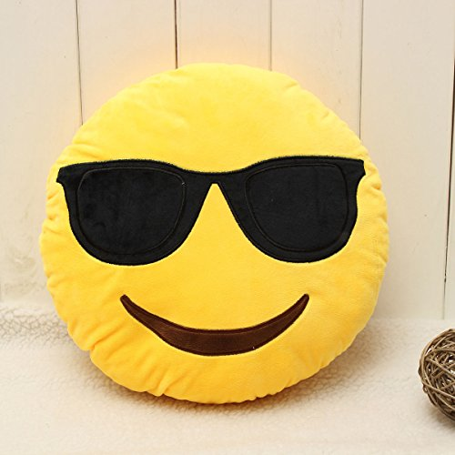 Markham123 32cm/12.6inch Funny Cute emoji pillow Decorative Cushion Home Car Smiley Face Pillow Stuffed Toy Soft Plush - Smiley Sunglass