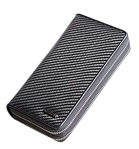 Genuine Carbon Fiber Brands Clutch Bag Men Wallets Luxury Large Capacity Gift for Male Double Zipper Long Wallet Handbag Purse (Black)