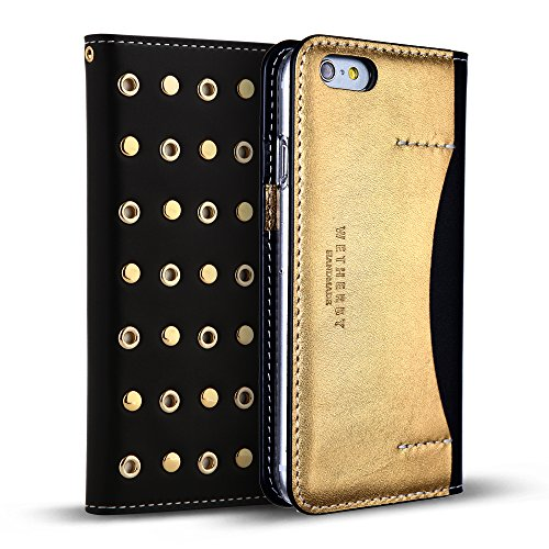 """iPhone 6s Case/iPhone 6 Case (4.7"""") DesignSkin WETHERBY [Stud] Luxurious Style 100% Handcrafted Genuine Leather ID Credit Card Slot Paper Bill Storage Folio Flip Wallet Case (Gold/Black)"""