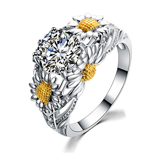 Women's Cubic Zirconia Ring Sunflower Band Party Christmas Gift White CZ Size 8