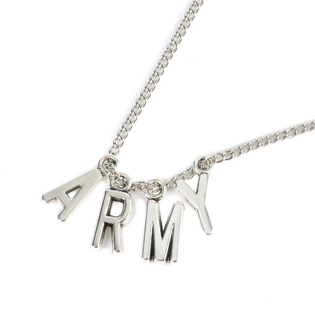 FRCOLT KPOP BTS Jimin Necklace Bangtan Boys ARMY A.R.M.Y Pendant KOOK V Pendent Collection Gift (Silver, alloy)