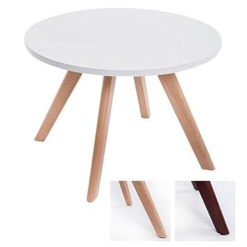 Tischplatte weiß matt  CLP Design-Beistelltisch Eirik aus Holz/Runder Teetisch mit Matt ...