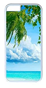 iPhone 6 Cases, ACESR Plastic Hard Case Cover for Apple Iphone 6 (4.7inch Screen) White Border Tropical Paradise Beach And Palm Tree