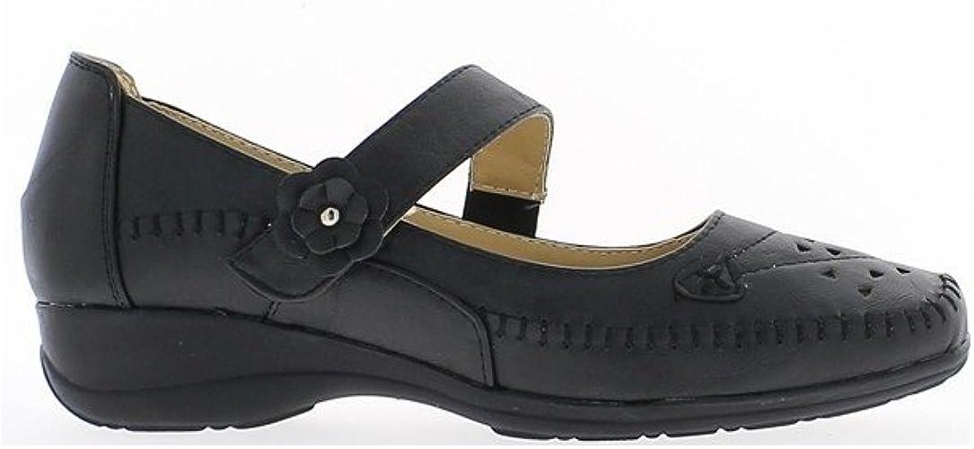 décor Chaussures aérée Femme Fleurs Noires Confort EHID29
