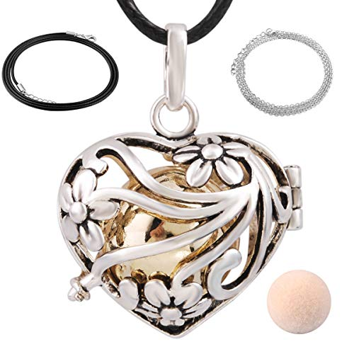 EUDORA Harmony Bola Mini Heart Pendant Wishing Ball Aromatherapy Essential Oil Diffuser 20 Inches - Necklace Silver Sterling Bell
