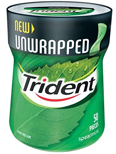 Trident Unwrapped Spearmint Bottle, 50 Count Mondelez