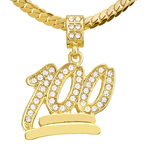 metaltree98 Men's Gold Plated Iced Out 100 Emoji Pendant 20