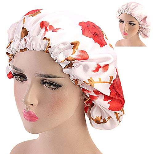 Adjustable Silk Sleep Cap Satin Bonnet Double Layer Soft Hair Cover for Women DORALLURE (One Size Fit All, Red Flower)