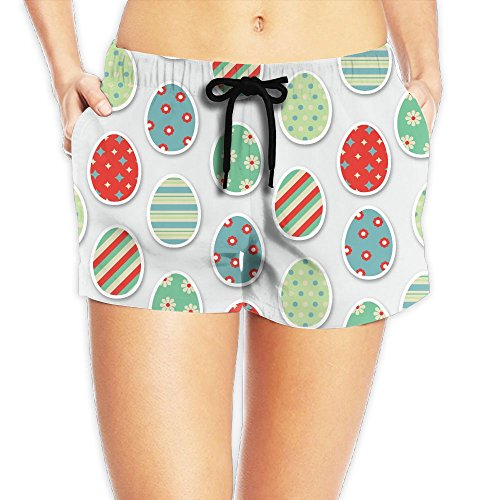 Haibobo Funny Easter Eggs Women's Swim Trunks Quick Dry Water Beach Board Shorts ()