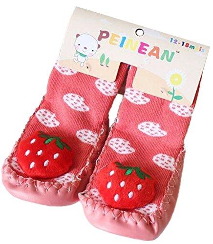 Bebedou Chaussons chaussettes confortables antidérapants respirant élastiques chauds et épais avec semelle en cuir souple 3 cm pour bébé de 2à 15mois Motif fraises rouges