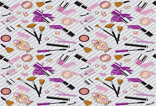 Leyiyi 9x6ft Photography Background Lipsticks Nail Polish Perfume Brushes Eye Black False Eyelash Pressed Powder Striped Paper Wall Backdrop Fashion Makeup Blogger Online Live Broadcast Backdrop - Striped Eyelash