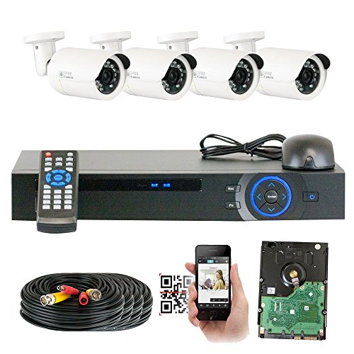 GW Security 1920x1080P HD CVI 4 Channel Security System + 4 HDCVI 1080p 2.1MP Bullet Camera 3.6mm Wide Angle Lens Motion Detect Smartphone Access