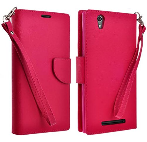 HTC Desire 626 Case, HTC Desires 626s Wallet Case with Foldable Stand, Pockets for ID, Credit Cards Flip Case For HTC Desire 626 / 626s - Hot Pink Wallet
