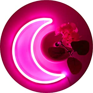 LED Pink Moon Neon Light, Cute Neon Moon Sign,Girl's Room Wall Decor Battery or USB Powered Art Decorative Moon Christmas Lamp Night Lights Indoor for Bedroom, Office,Dorm,Party,Thanksgiving