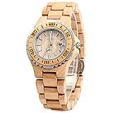GBlife Bewell ZS-100BL Women Wooden Quartz Watch Metal Case Retro Wrist Watch (MAPLE WOOD)