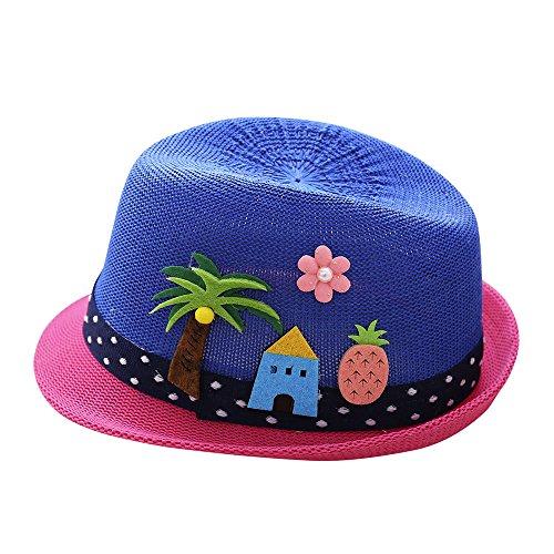 (Cuekondy Baby Girls Boy Kids Fedora Summer Sun Hats Cute Cartoon Elephant Coconut Tree Jazz Cap Beach Sun Protection Hat(Dark Blue,2-6 Years old(49-51cm)))