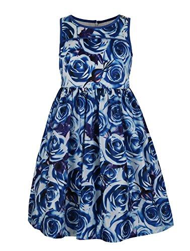 Emma Kids Dress (Emma Riley Girls' Satin Floral Party Dress 10 Blue)