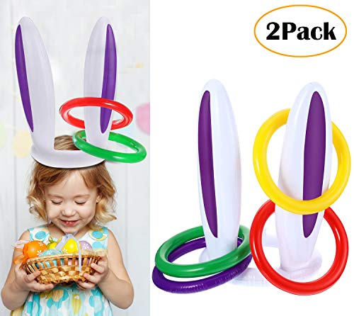 DoYay 2 Pieces Inflatable Easter Rabbit Ear Hat and 8 Pieces Colored Inflatable Ring Kids Toss Game Supplies for Bunny Party