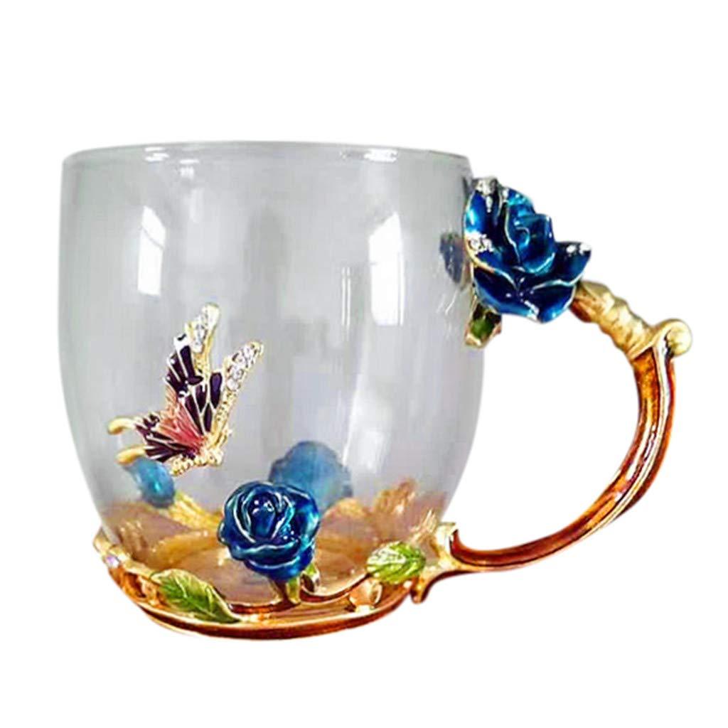 Handmade Crystal Enamel Butterfly Tea Cup Coffee Mug Glass Enamel & Box Gift Heat-Resistant Coffee Cup (ONE, Pink)