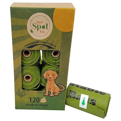 Premium Eco-Friendly Biodegradable Dog Waste Poop Bags By See Spot Go - 120 Environmentally Friendly, Compostable Pieces - 8 Rolls - Large 9x13 Inch Dimensions - Made Of Corn-Starch & Polymers (Best Cat Litter That Won T Stick To Paws)