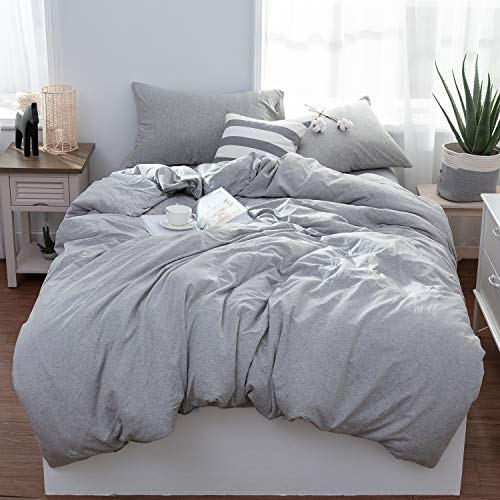 LIFETOWN Jersey Knit Cotton Duvet Cover Set Queen Full Size Light Gray Bedding Set 3 Pieces (1 Duvet Cover + 2 Pillow Cases), Simple Solid Design, Super Soft and Easy Care