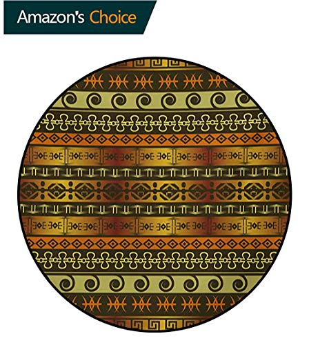 - Zambia Computer Chair Floor Mat,Ethnic Ornamental Abstract Heritage Traditional Ceremony Ritual Image Printed Round Carpet For Children Bedroom Play Tent,Diameter-35 Inch Gold Dark Brown Orange